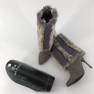 : NINA Fur/Sweater Top Heeled Boots